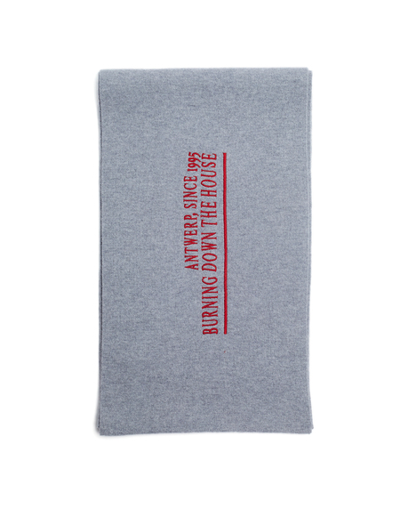 Raf Simons Embroidered Grey Wool & Cashmere Scarf