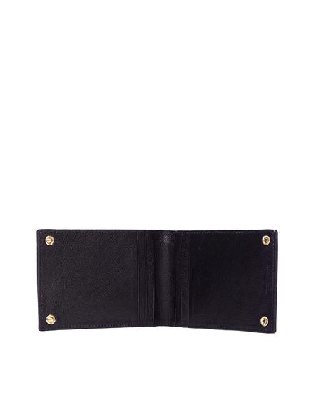 Ugo Cacciatori Black Grained Leather Buttons Cardholder