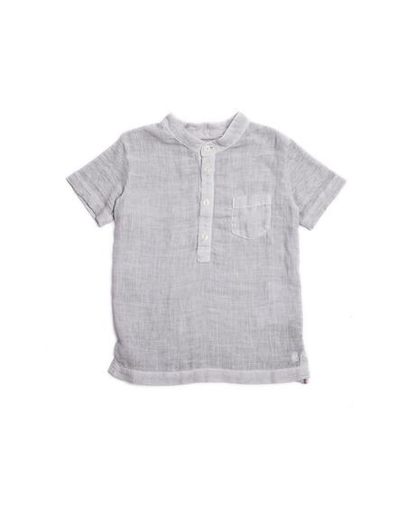 Lino Kids Linen Henley T Shirt - Grey