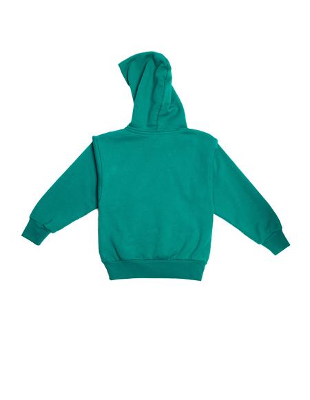 Balenciaga Kids Green Printed Cotton Hoodie