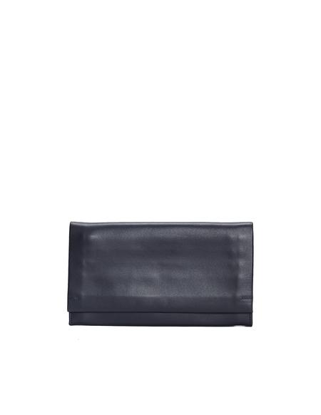 Isaac Reina Black Shoulder Strap Leather Wallet