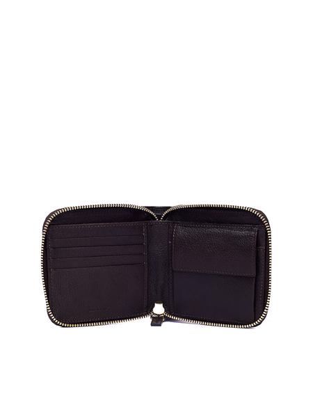 Ugo Cacciatori Leather Zip Pocket Wallet - Dark Brown