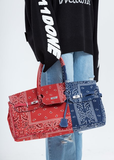 Unisex Syugo Remade Bandana Bag - Paisley Red/Blue