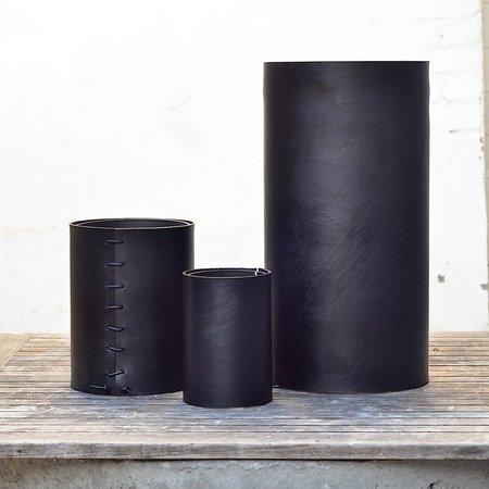 Made Solid Bison Leather Wrapped Vase - BLACK