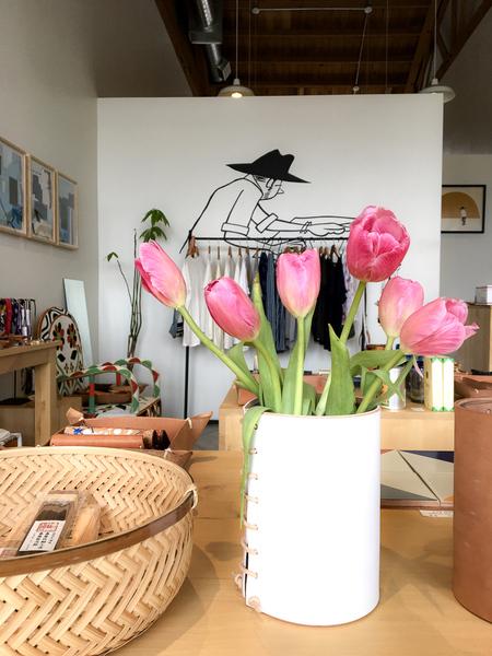 Made Solid Enameled Leather Vase - Matte White