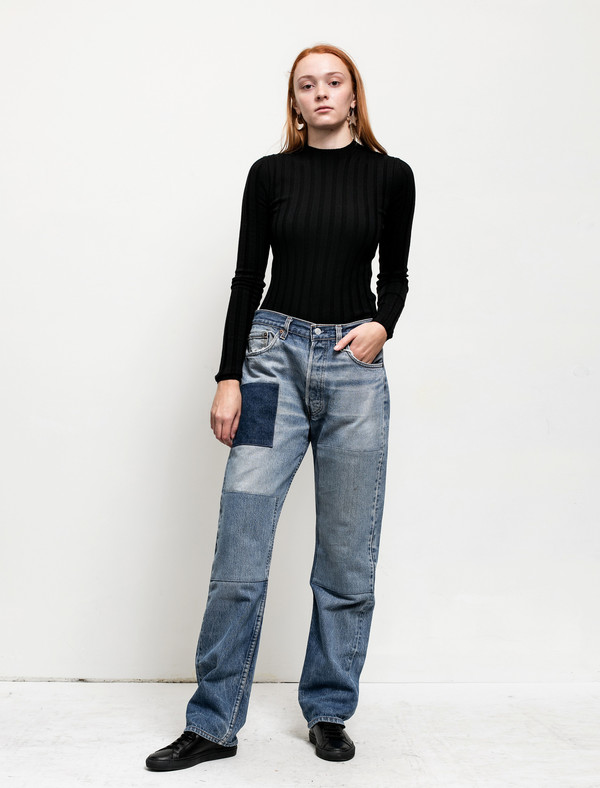 B Sides Womens Patchwork Denim 3/5
