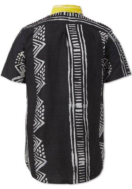 Studio One Eighty Nine Bogolan Cotton Hand-Batik Andy Button Down Short Sleeve Shirt - Black