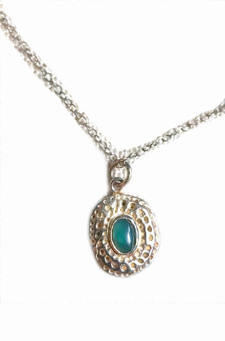 Bauxo Jordan Necklace with Green Agate - Silver