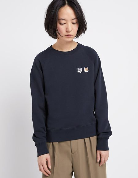 Kitsune Sweatshirt with Double Fox Head Patch - Anthracite