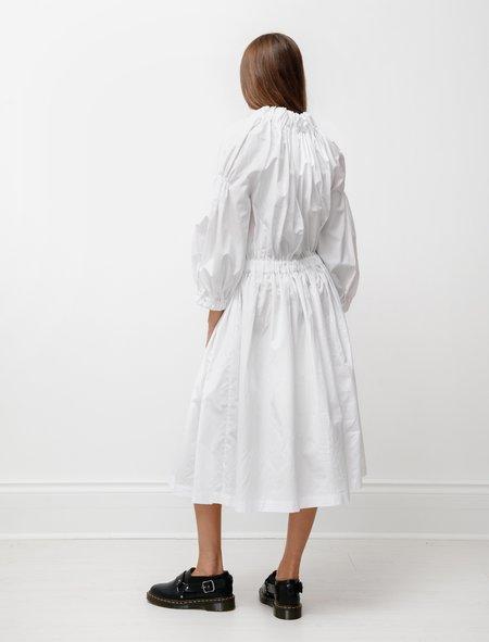 Comme des Garçons Drop Waist Ruched Dress - White