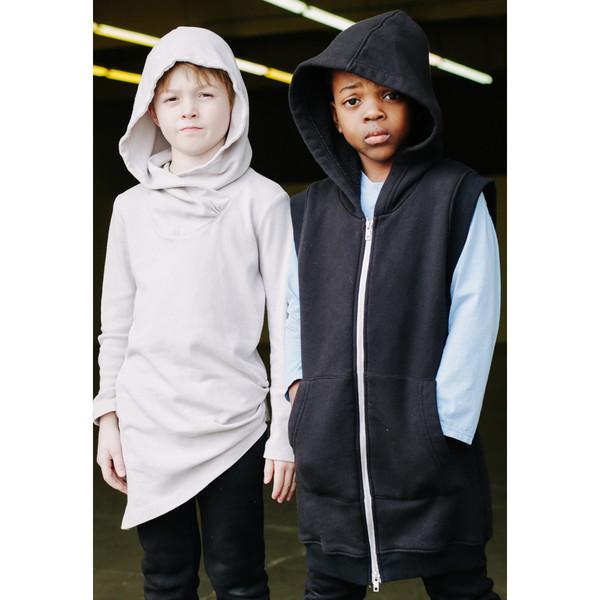 Kid's Mimobee Rocky Sleeveless Long Hoodie - Plum