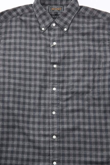 Beams Plus B.D. Shaggy Gingham Check Shirt - Grey