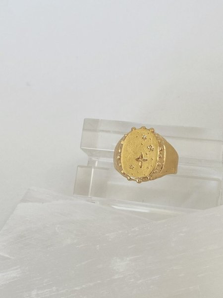Mercurial NYC Estelle Signet Ring - Gold Plate