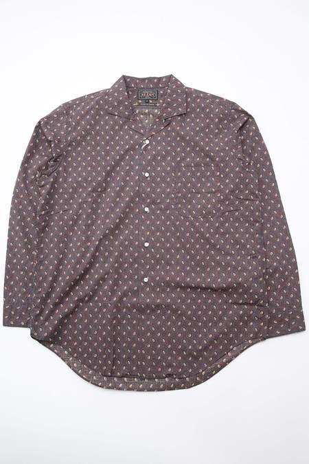 Beams Plus Open Collar Dobby Classic Fit Shirt - Navy/Paisley Print