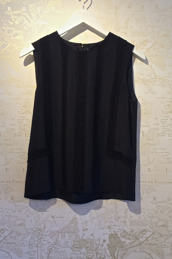 Jenni Kayne Lace Seam Silk Sleeveless Top