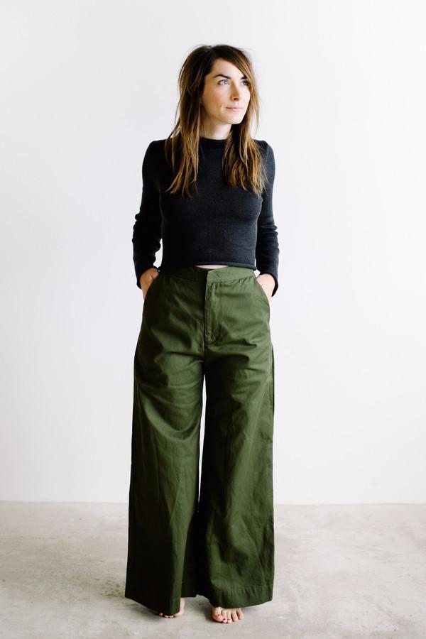 Esby Apparel Alex Wide Leg Pant // Olive