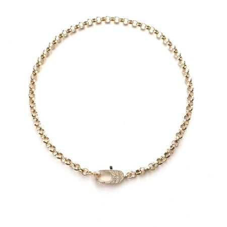 Jennifer Tuton Oversized Pave Clasp Collar - 24K Gold