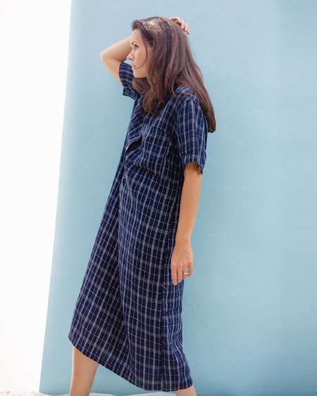Puco Joby Plaid Button Front Dress - Navy Check