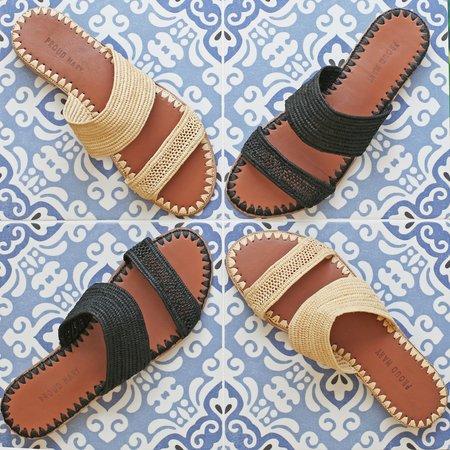 Proud Mary Footwear Raffia Two-Strap Slide - Black
