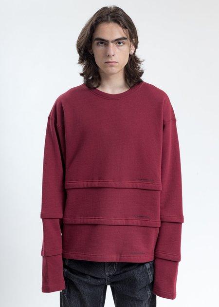 LUKEWARMPEOPLE Triple Layer Sweatshirt - Burgundy