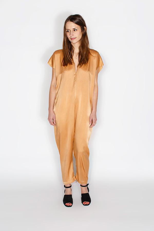 Miranda Bennett In-Stock: Everyday Jumpsuit, Silk Charmeuse in Sand