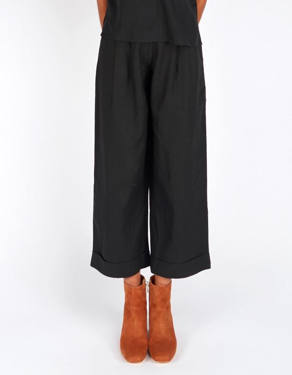 Ali Golden Raw Silk Roll Cuff Pant Black