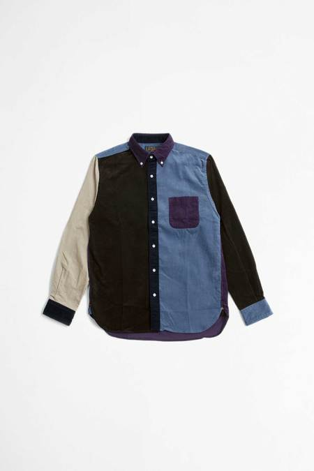 Beams Plus Multi Pattern Corduroy Shirt - Purple