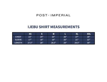 POST-IMPERIAL WAVY SQUARE PATTERN IJEBU SHIRT - BROWN / WHITE