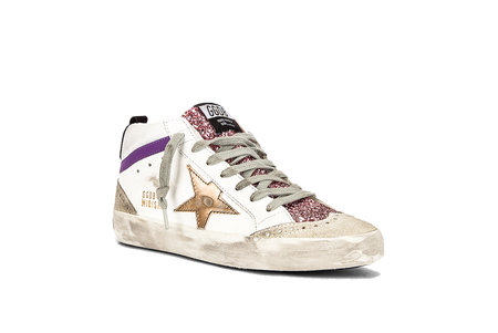 Golden Goose Mid Star Leather Upper with Glitter Tongue Sneaker