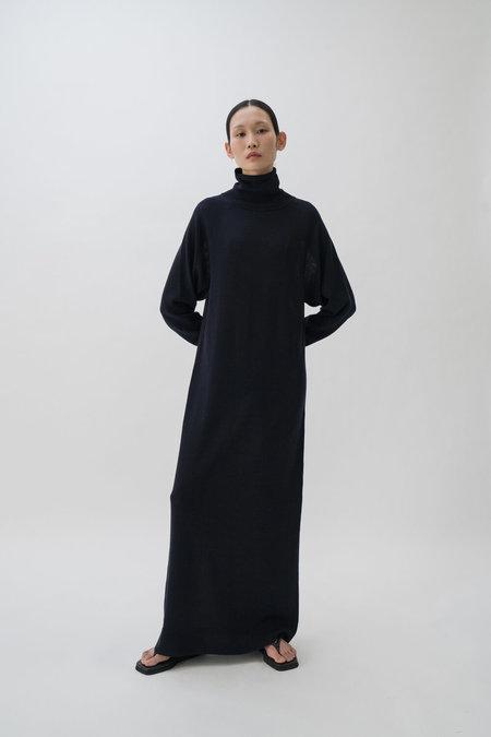 Le 17 Septembre High Neck Knit Dress - Navy