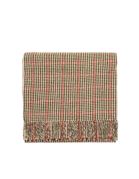Undercover Checked Wool Scarf - Black/Beige