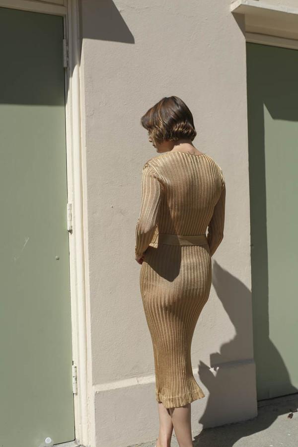 Maryam Nassir Zadeh Paris Knit Dress in Tan