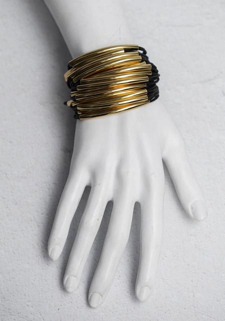Gillian Julius Cotton and Layered Tubing Cuff - Black/Gold