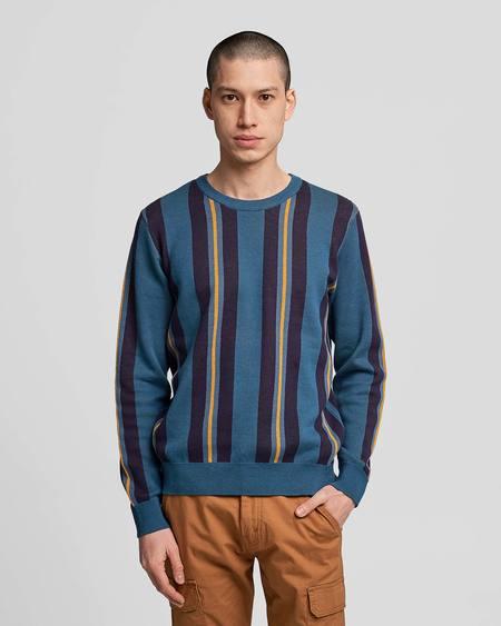 Poplin & Co. Crew Neck Jacquard Knit Sweater With Rider Stripe Pattern - Multicolor