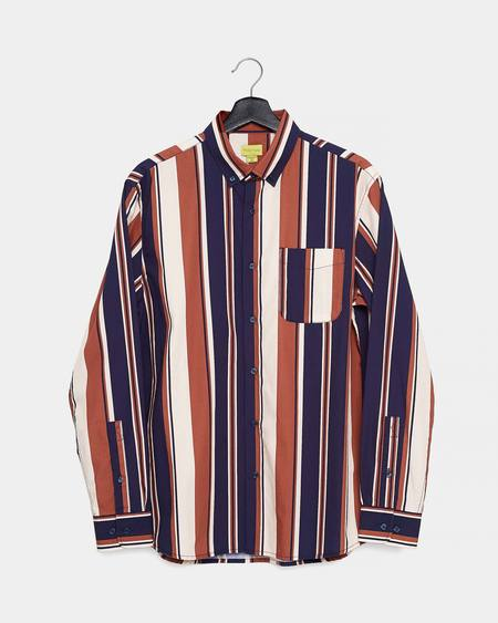 Poplin & Co. Retro Saddle Stripe Printed Casual Button Down Long Sleeve Shirt