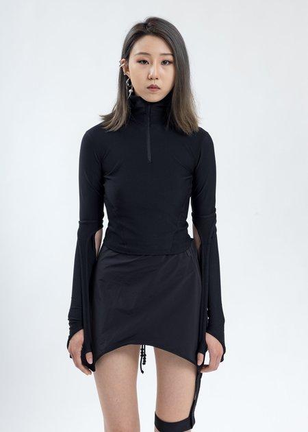 Hyein Seo Half Zip Sport Top - Black