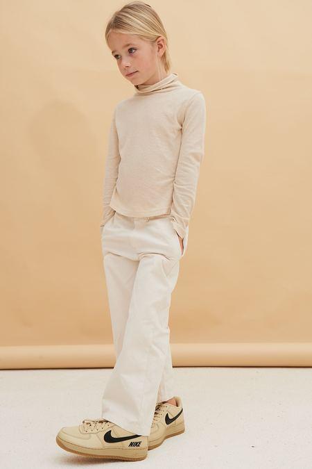 Kids Long Live the Queen Linen Turtleneck - Off White