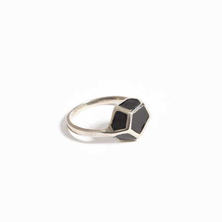 Aesa Ring with Enamel Pyrite - Sterling Silver