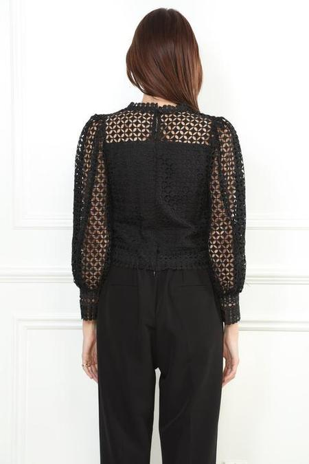 Zero Degrees Celsius Lace Puff Sleeve Top - Black