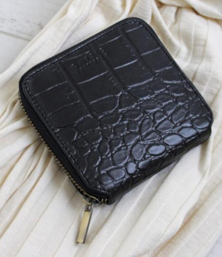 O My Bag Sonny Square Wallet - Black Croco