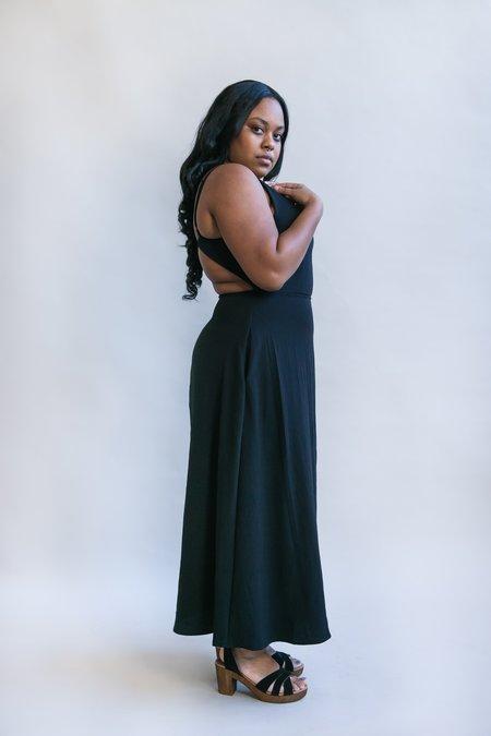 Field Day Meadow Dress - Black Rayon Crepe