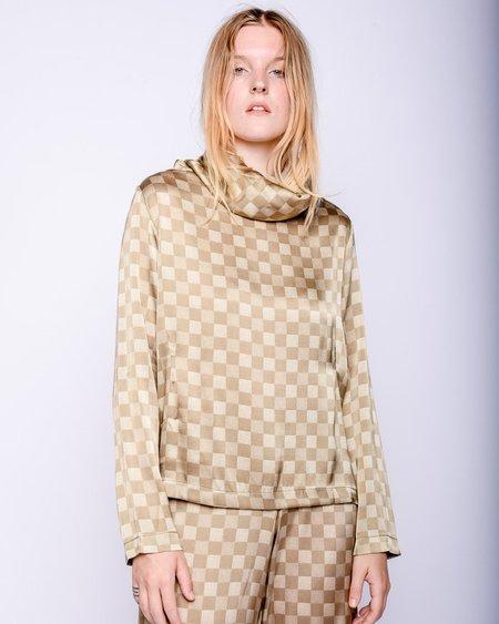 Baserange Ozum Silk Long Sleeve Shirt - Green Checks