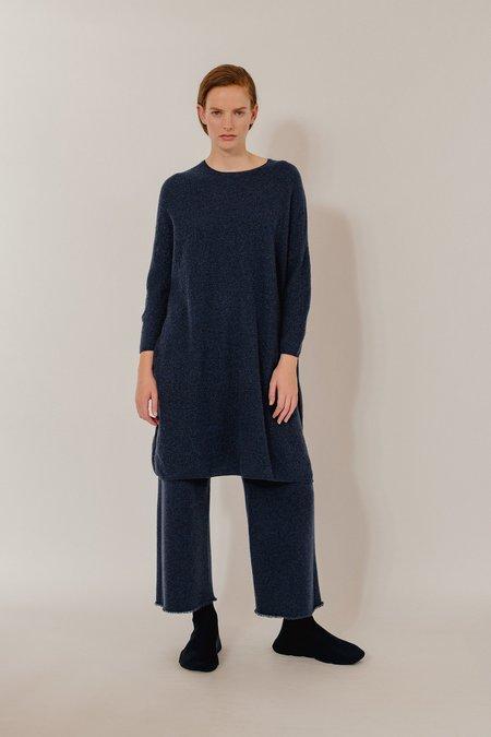 Oyuna Saran Cashmere Dress - Dark Blue Rain