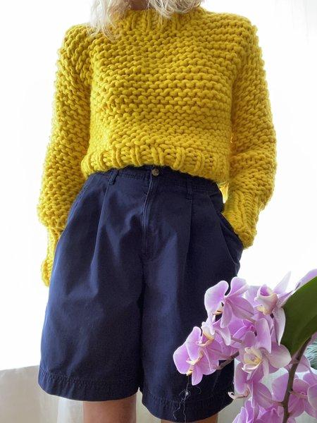 Bozidara Hand Knit Mock Neck Sweater - Yellow