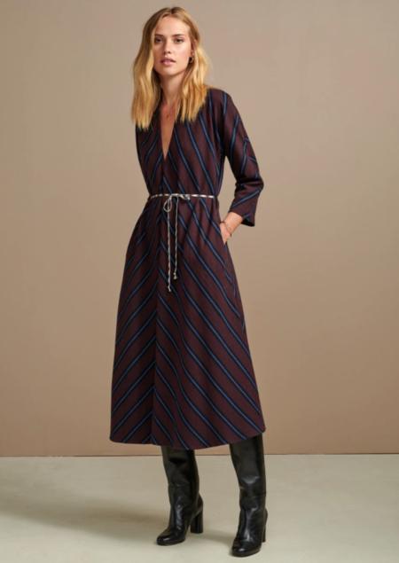 Bellerose Acryl Dress - Burgundy/Blue Chevron
