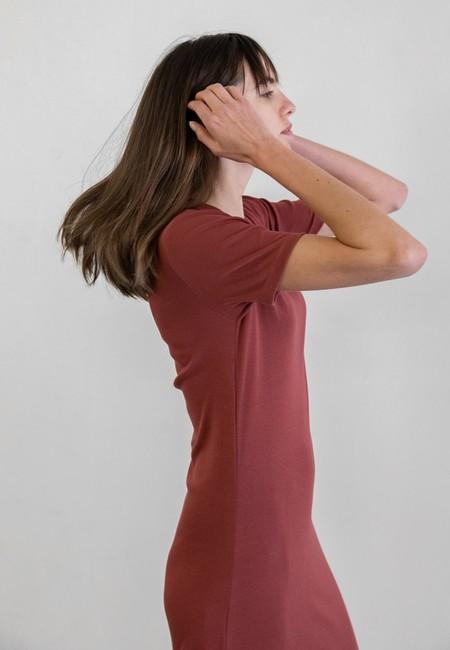 DELFINA BALDA BASIC COLOR SHORT SLEEVED DRESS - PALE ROSE
