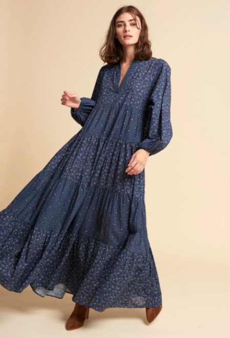 Warm Love St. Colonial Dress - Navy