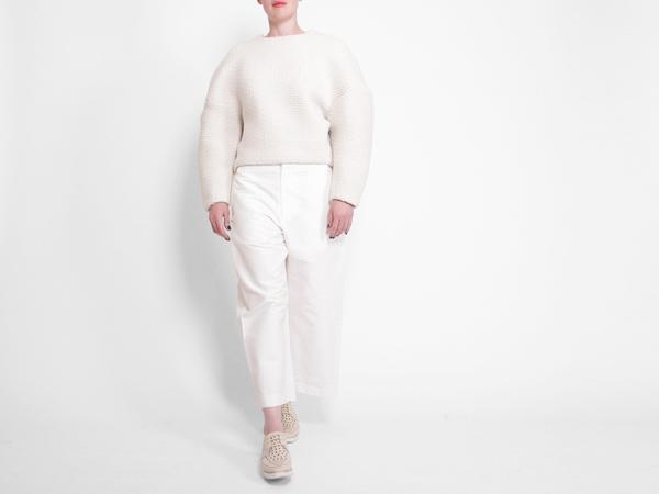 Berenik Quilted Fleece Sweater - White