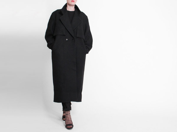 Berenik Wool Trench Coat - Black