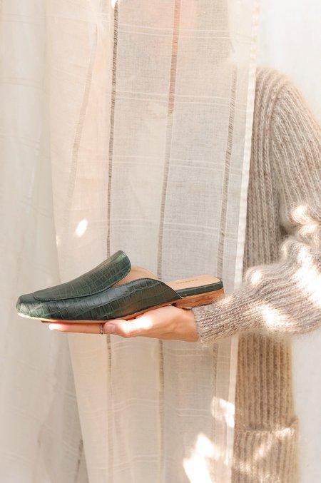 Kaanas Croc Embossed Berlin Slide - Emerald